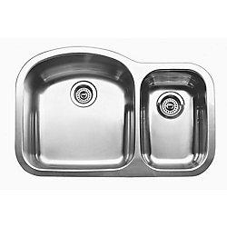 Blanco WAVE Plus U (Bowls: 10inch & 7inch) Double Bowl Undermount Kitchen Sink, Stainless Steel