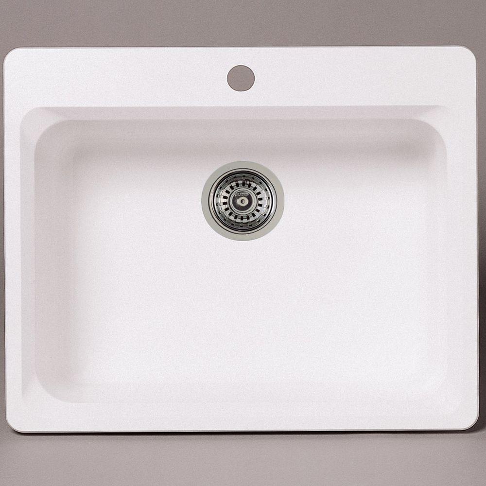 Évier SILGRANITMD composé de granit naturel, 1 cuve, montage en surface, blanc
