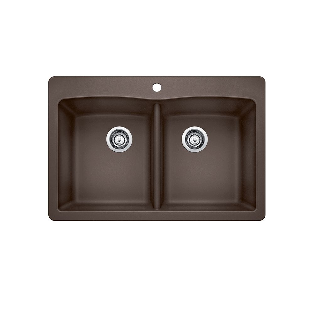 Blanco Diamond 210 Double Bowl Drop-in Kitchen Sink, SILGRANIT Granite Composite