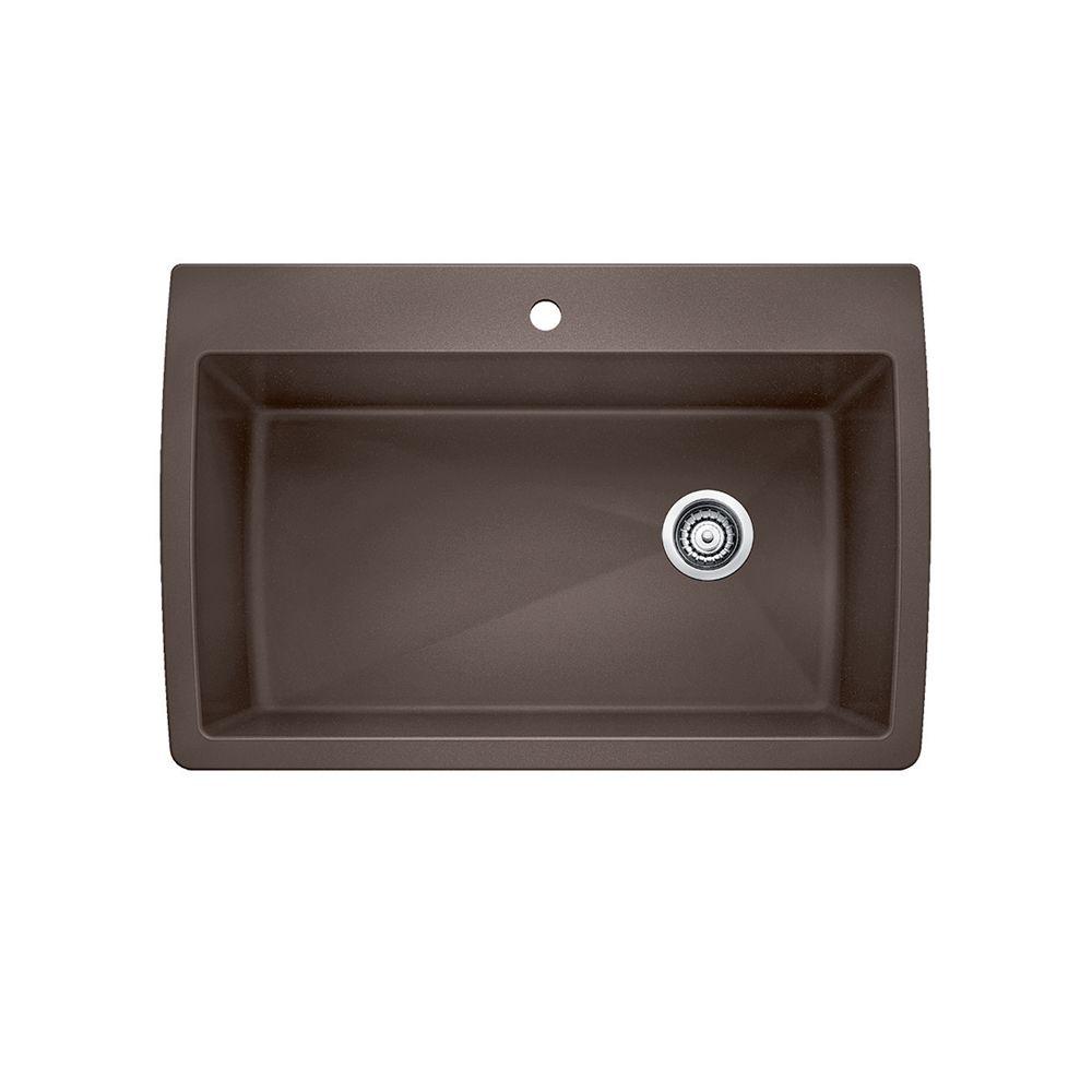 Blanco Diamond Super Single Bowl Drop-in Kitchen Sink, SILGRANIT Granite Composite