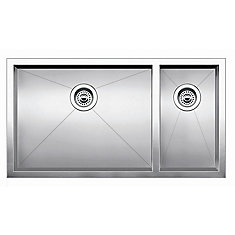 Precision U 1 Double Bowl Undermount Kitchen Sink, STEELART Stainless Steel