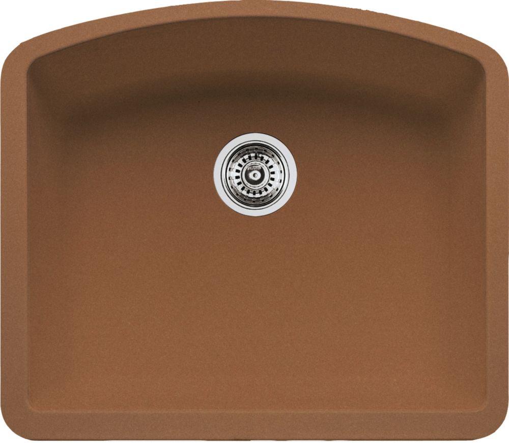 Silgranit Natural Granite Composite Kitchen Or Island Sink, Undermount, Cognac