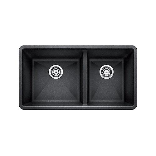 Silgranit Natural Granite Composite Kitchen Sink, Undermount, Anthracite