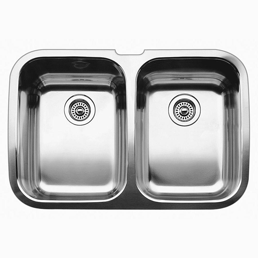 Évier de cuisine en acier inoxydable, 2 cuves, montage sous plan
