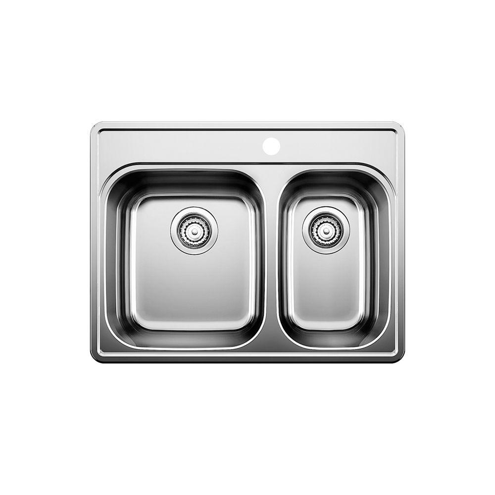 Évier de cuisine en acier inoxydable, 1 trou, montage en surface