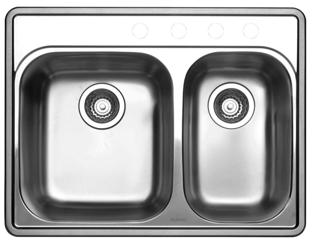 Stainless Steel Topmount Kitchen Sink, 4-Hole SOP1020 Canada Discount