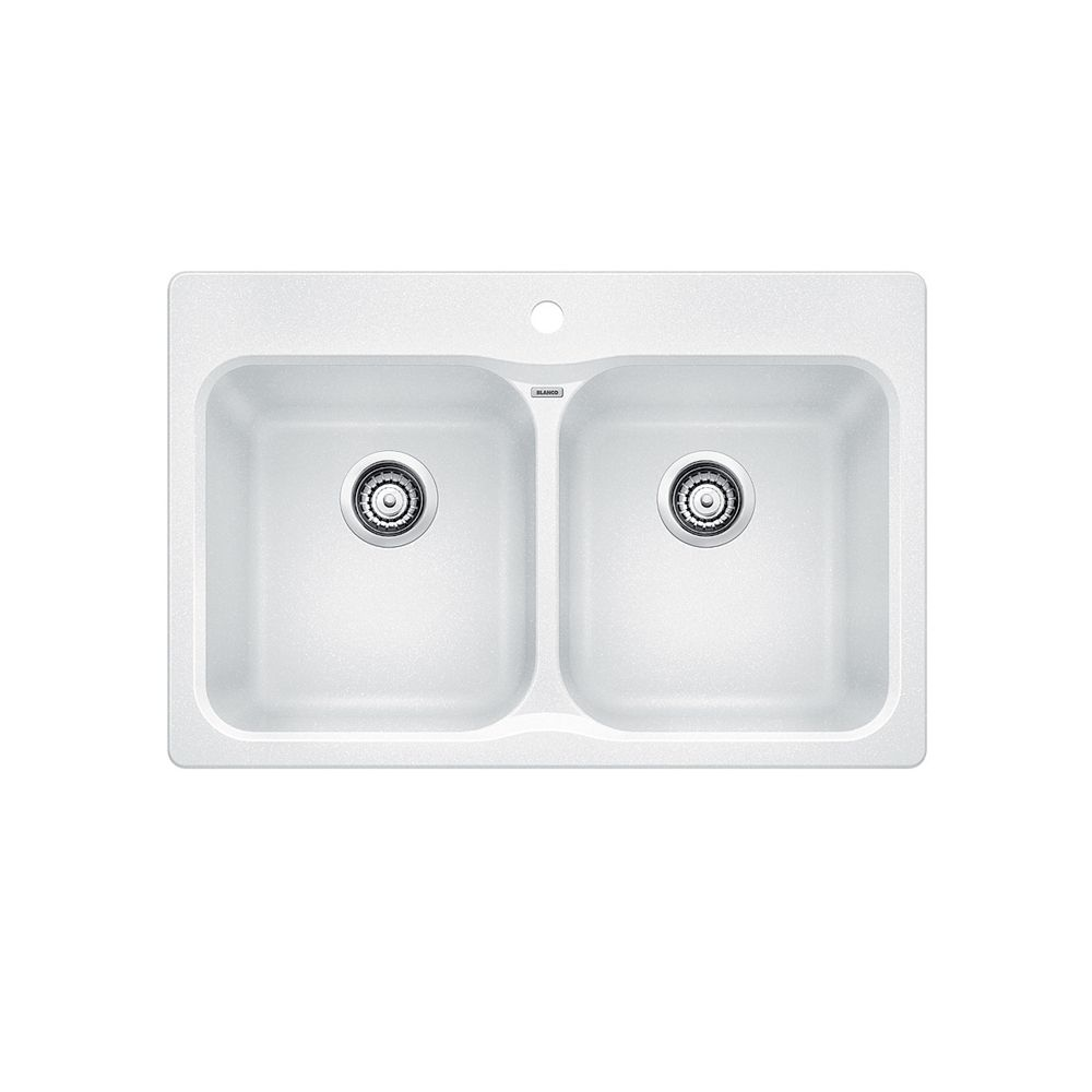 Silgranit Natural Granite, 2 Bowl Topmount Sink, White