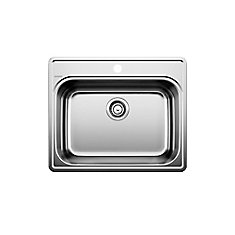 Stainless Steel Top Mount Kitchen Sink, 1-Hole