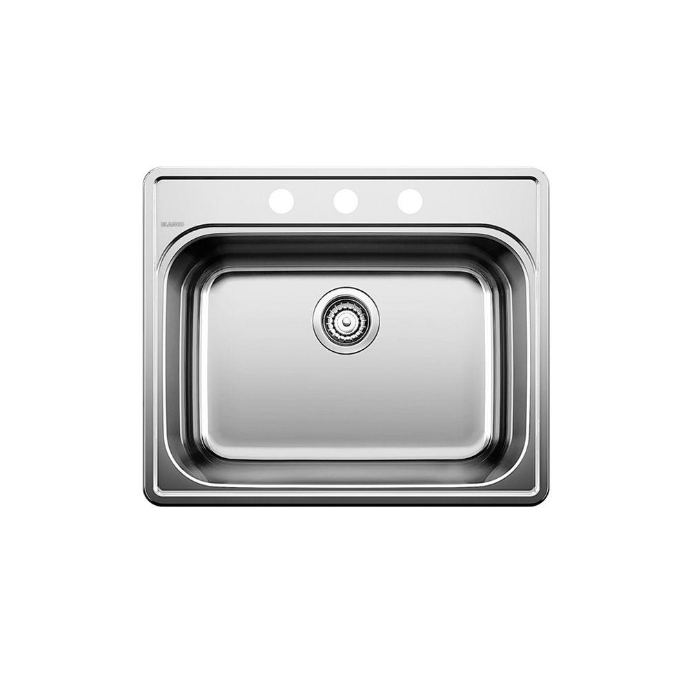 Évier de cuisine en acier inoxydable, 3 trous, montage en surface