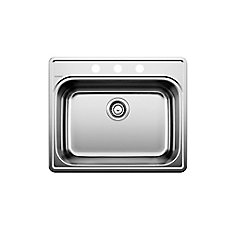 Stainless Steel Top Mount Kitchen Sink, 3-Hole