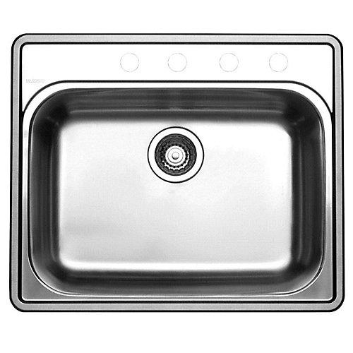 Stainless Steel Topmount Kitchen Sink, 4-Hole