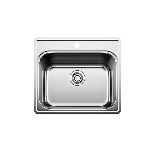 Blanco ESSENTIAL LAUNDRY, Single Bowl Drop-in Sink (1 Hole), Stainless Steel