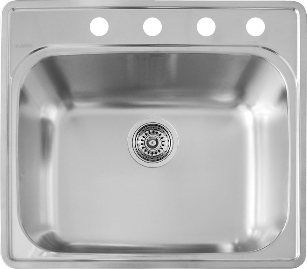 Bac de lavage en acier inoxydable, 1 cuve, 4 trous, montage en surface