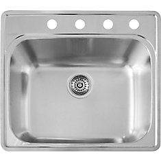 Stainless Steel top mount Laundry Sink, Single Bowl, 4-Hole