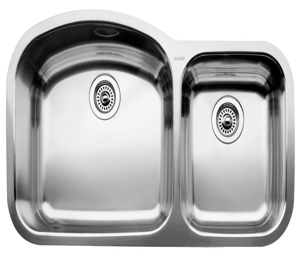 Blanco BLANCOWAVE U 1 Double Bowl Undermount Kitchen Sink, Stainless Steel