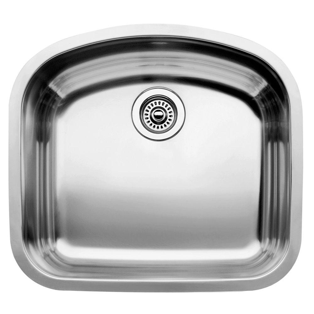 Blanco BLANCOWAVE U 1 Single Bowl Undermount Kitchen Sink, Stainless Steel