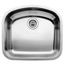 Blanco Wave U 1 Single Bowl Undermount Kitchen Sink, Stainless Steel