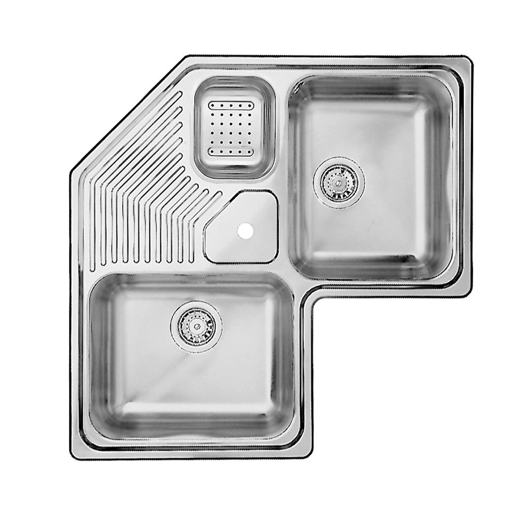 2 Bowl Topmount Stainless Steel Corner Sink