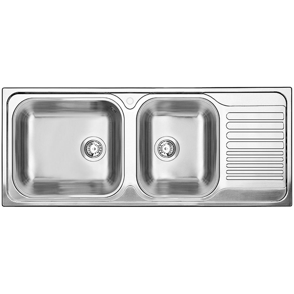 1 1/2 Bowl Drop-In Right-Hand Drainboard Stainless Steel Kitchen Sink