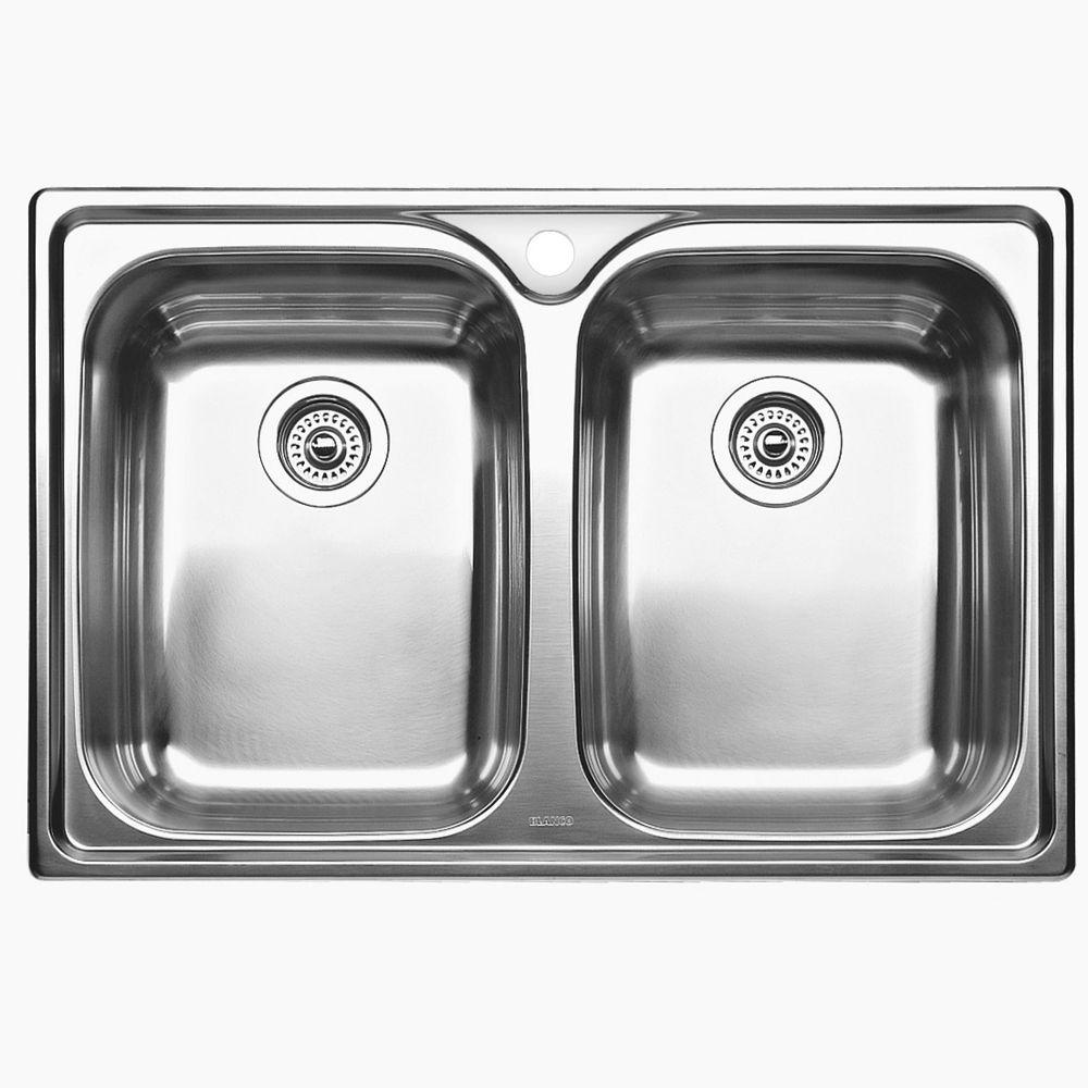 2 Bowl Drop-In Stainless Steel Kitchen Sink