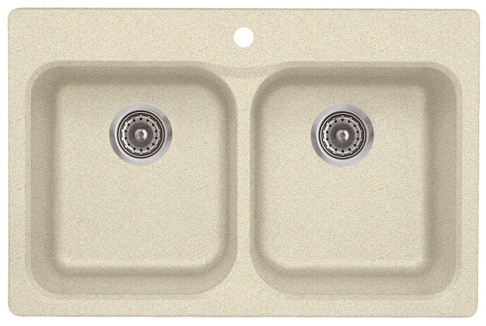 Évier SILGRANITMD composé de granit naturel, 2 cuves, montage en surface, biscuit