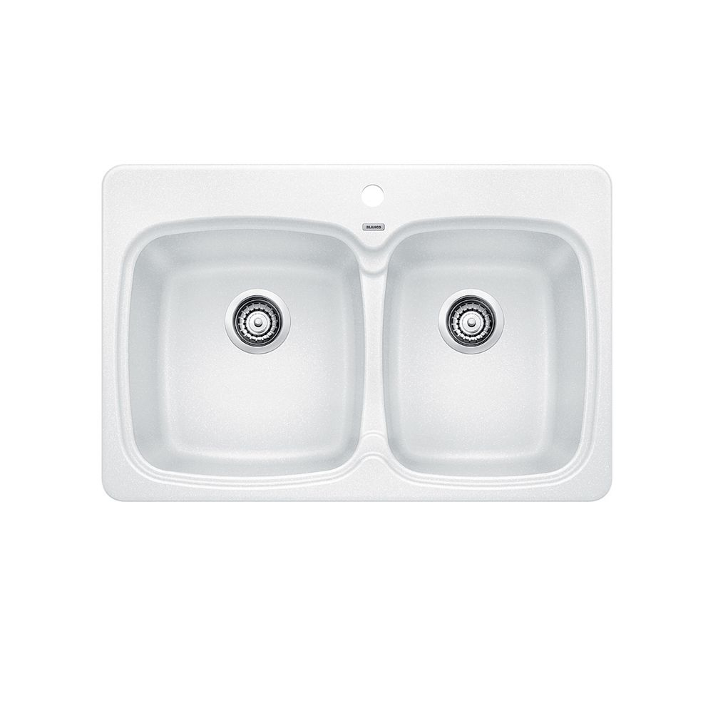 White Silgranit Sink : Blanco Silgranit Natural Granite, 2 Bowl Topmount Sink, White The ...