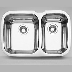 Niagara U 1 Double Bowl Undermount Kitchen Sink, Stainless Steel