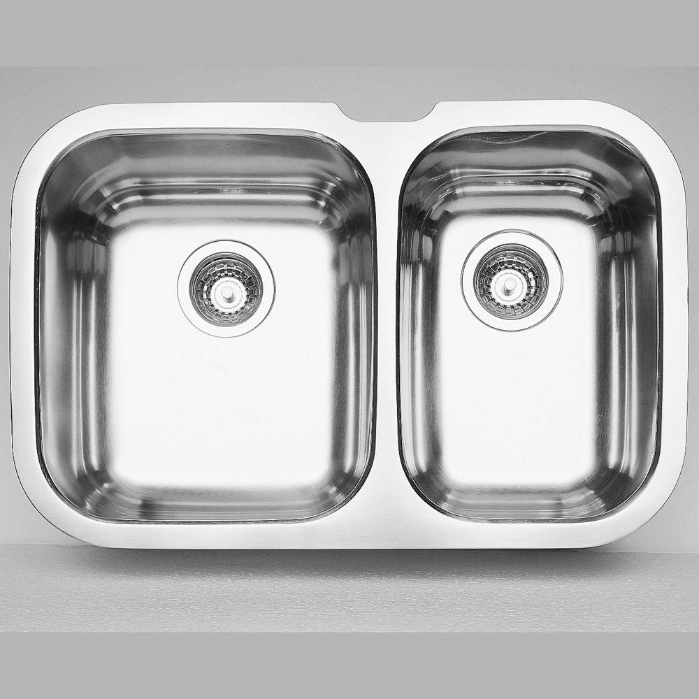 Blanco Niagara U 1 Double Bowl Undermount Kitchen Sink, Stainless Steel
