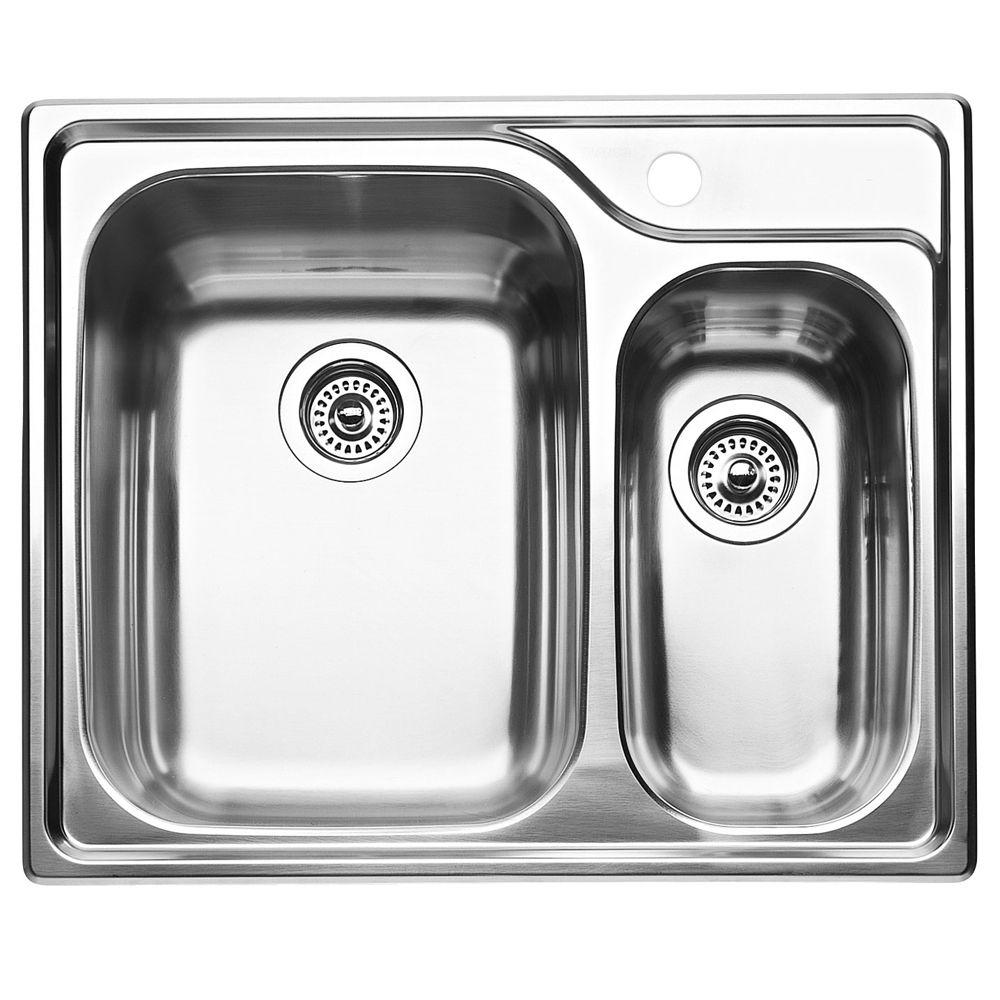 Évier de cuisine en acier inoxydable, 1 1/2 cuves, montage en surface
