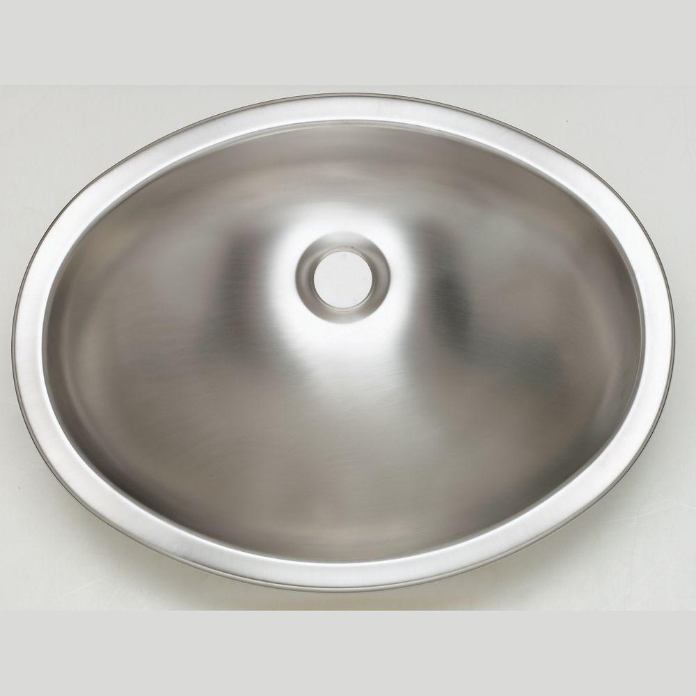 Oval Drop-In Bathroom Sink in Stainless Steel