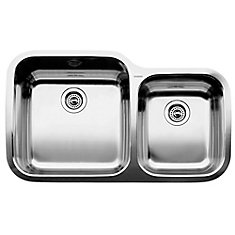 Super Supreme U 1  Double Bowl Undermount Kitchen Sink, Stainless Steel
