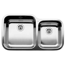 Blanco Super Supreme U 1  Double Bowl Undermount Kitchen Sink, Stainless Steel