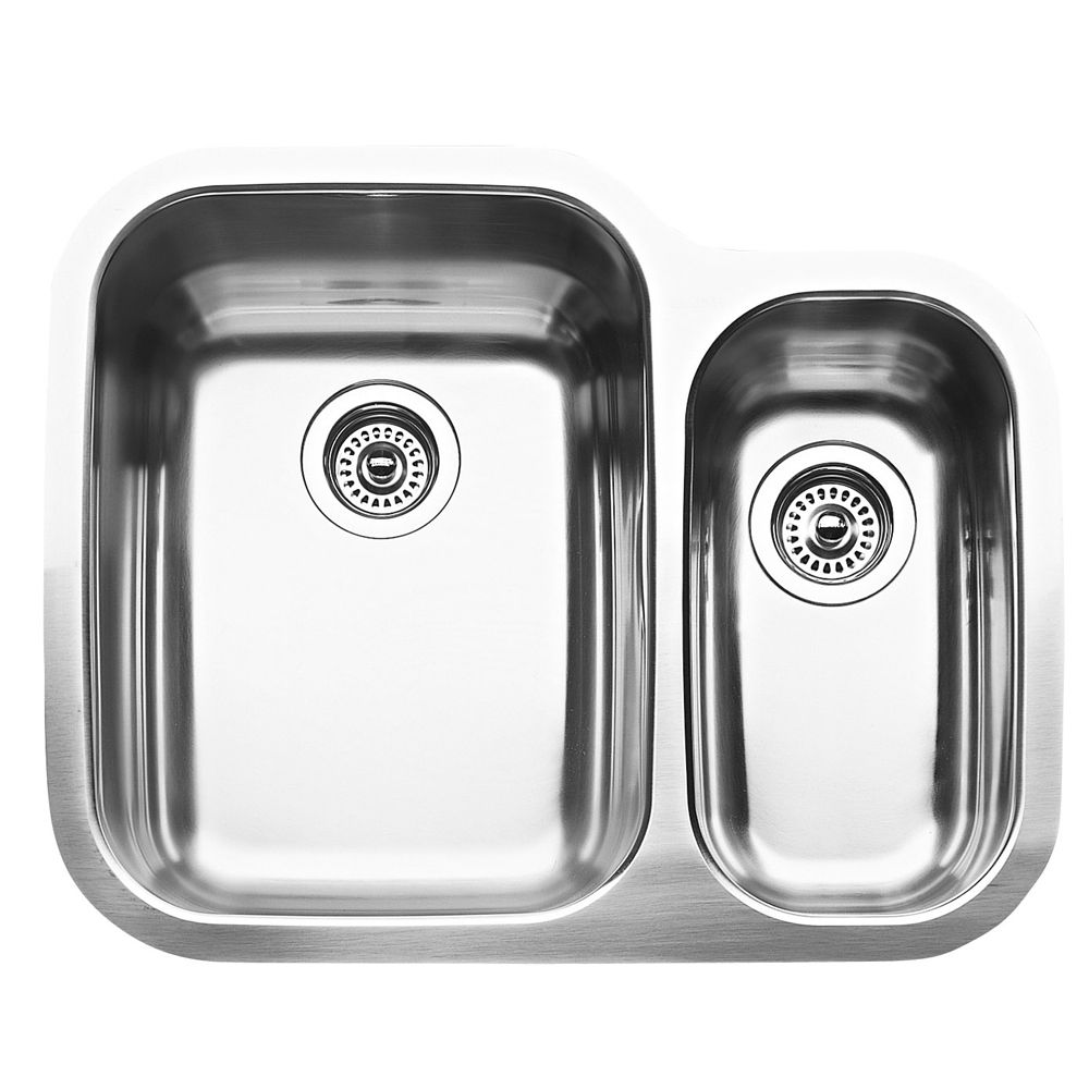 Blanco Supreme U 1  Double Bowl Undermount Kitchen Sink, Stainless Steel