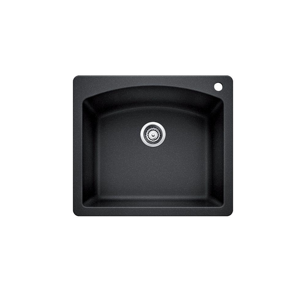 Silgranit Natural Granite, Single Bowl Topmount Sink, Anthracite