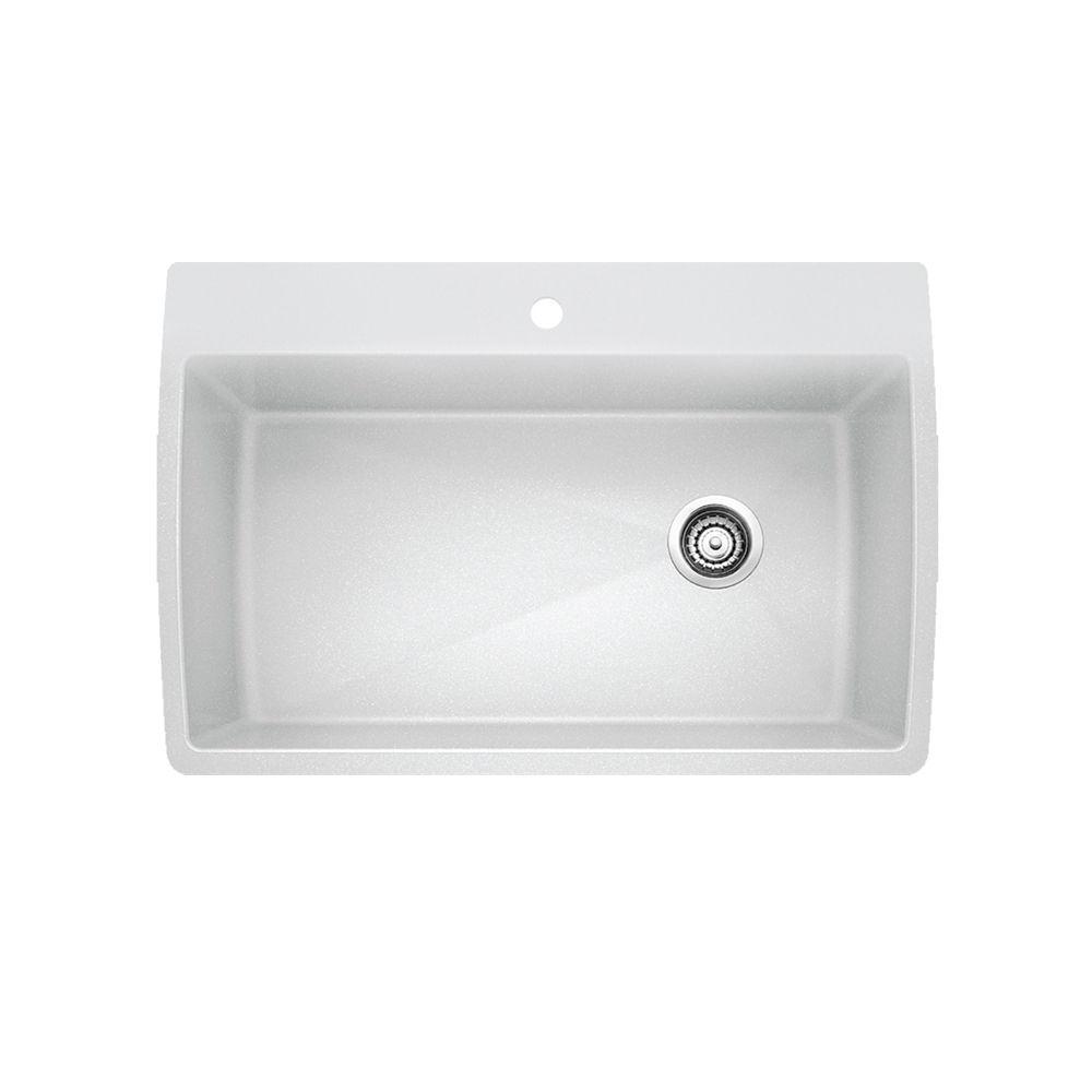Évier SILGRANITMD composé de granit naturel, 1 cuve extra grande, montage en surface, blanc