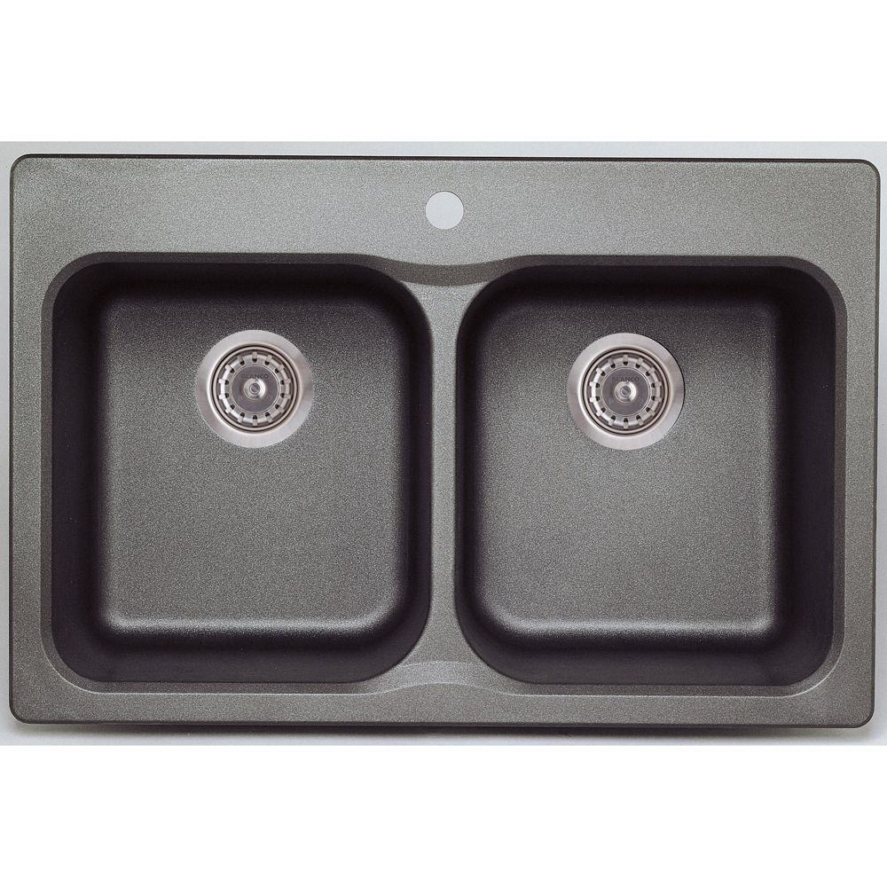 Silgranit Natural Granite, 2 Bowl Drop-In Sink, Metallic Grey
