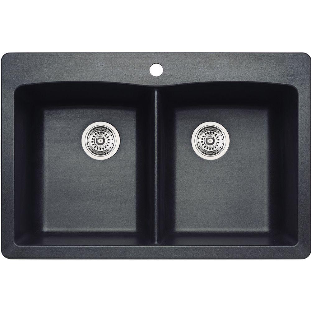 Silgranit Natural Granite, 2 Bowl Drop-In Sink, Metallic Grey