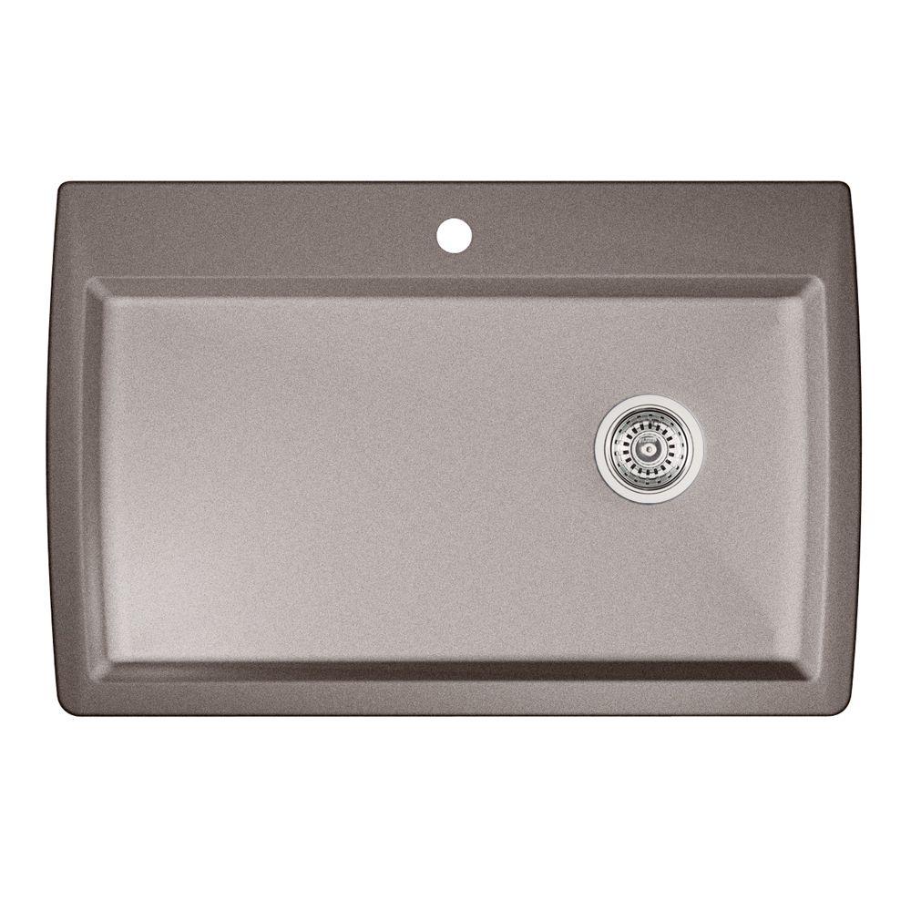 Évier SILGRANITMD composé de granit naturel, 1 cuve extra grande, montage en surface, gris métall...