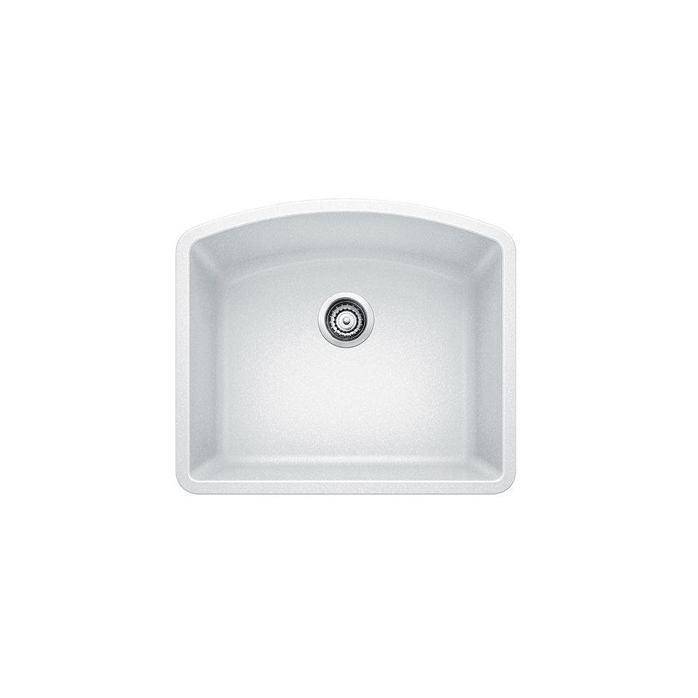 Évier SILGRANITMD composé de granit naturel, 1 cuve, montage sous plan, blanc