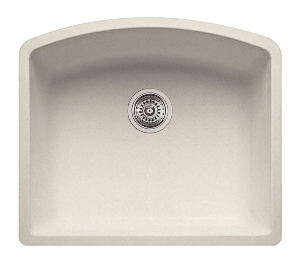 Silgranit Natural Granite, Single Bowl Undermount Sink, Stone Biscuit