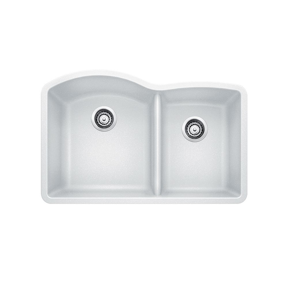 White Silgranit Sink : Blanco Silgranit Natural Granite, 1 1/2 Bowl Undermount Sink, White ...