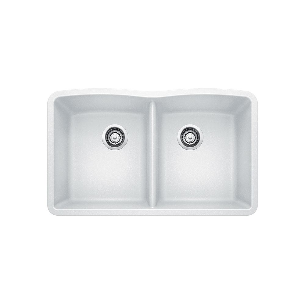 Silgranit Natural Granite, 2 Bowl Undermount Sink, White