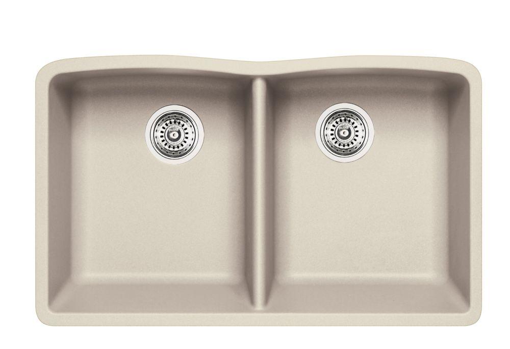 Silgranit Natural Granite, 2 Bowl Undermount Sink, Stone Biscuit