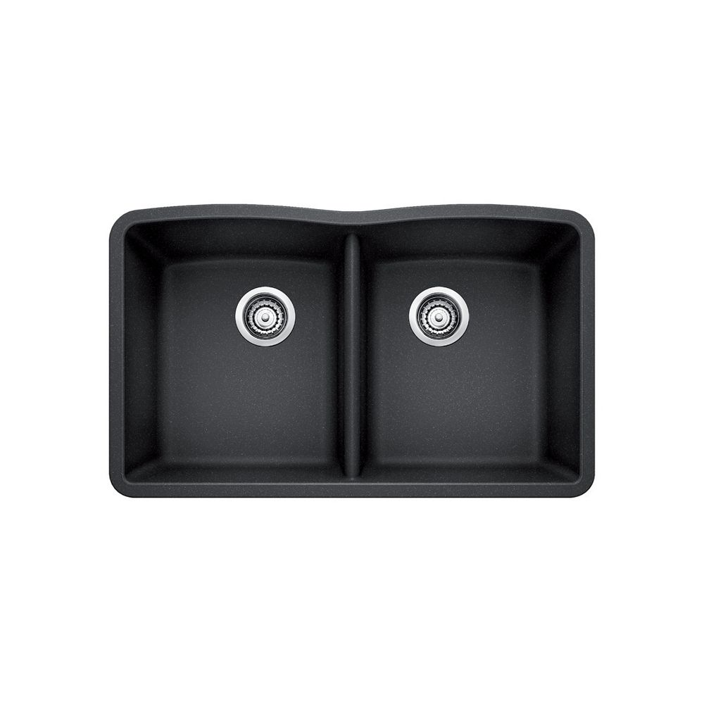 Silgranit Natural Granite, 2 Bowl Undermount Sink, Anthracite SOP571 Canada Discount