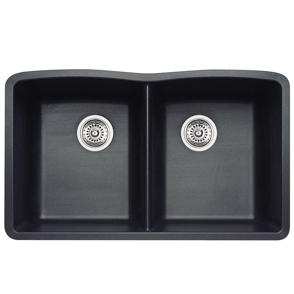 Silgranit Natural Granite, 2 Bowl Undermount Sink, Metallic Grey