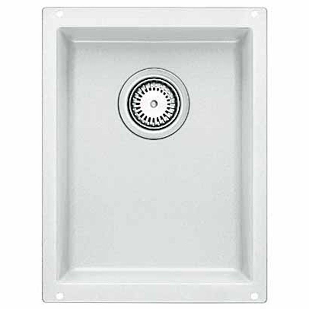Silgranit Natural Granite, 3/4 Bowl Undermount Sink, White