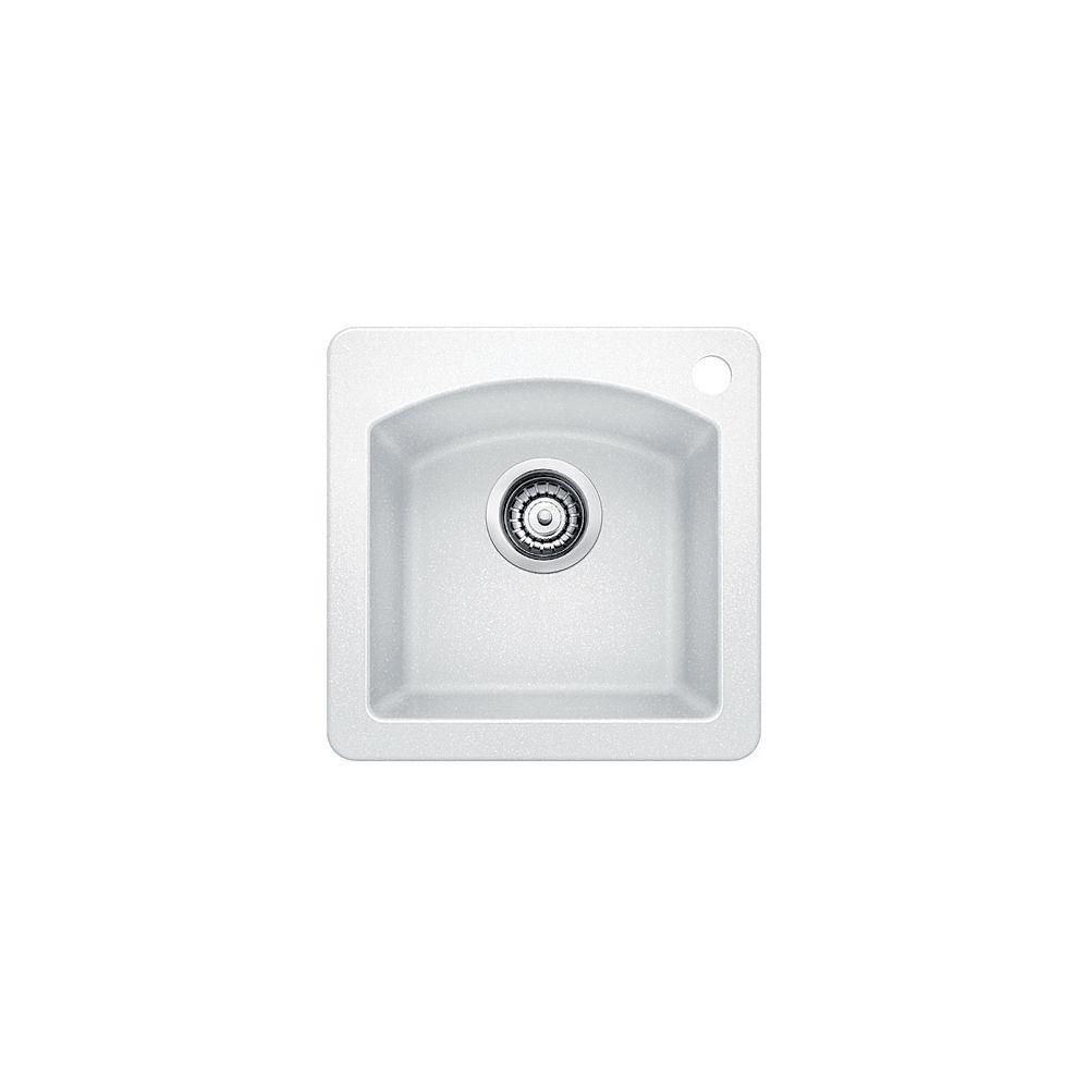 Silgranit Natural Granite, Single Bowl Drop-In Bar Sink, White