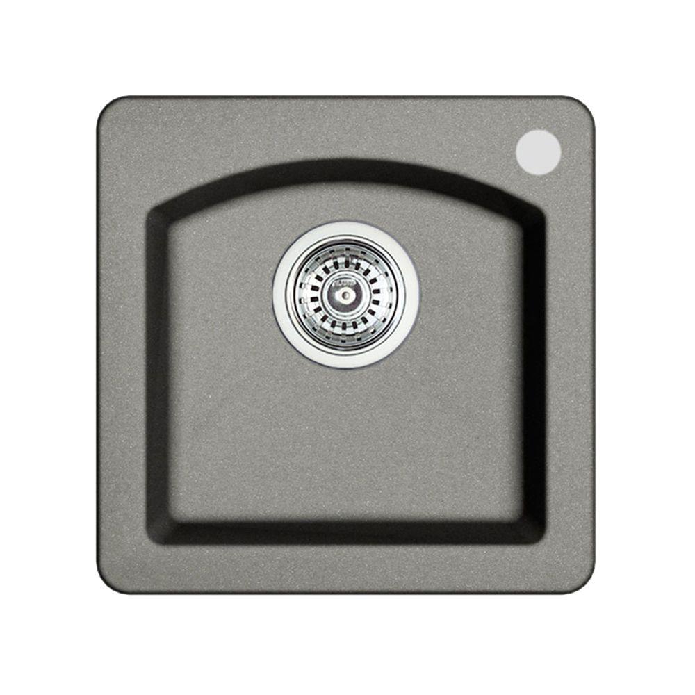 Silgranit Natural Granite, Single Bowl Drop-In Bar Sink, Metallic Grey