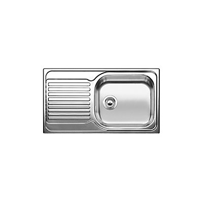blanco single bowl left hand drainboard top mount stainless steel kitchen sink the home depot canada - Kitchen Sink With Drainboard