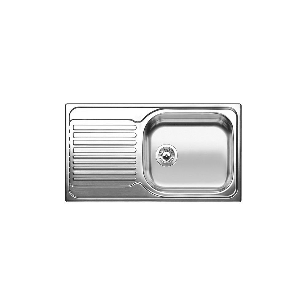 Évier de cuisine en acier inoxydable, 1 cuve, égouttoir à gauche, montage en surface